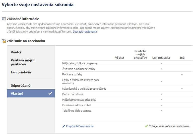Facebook  - nastavenia súkromia