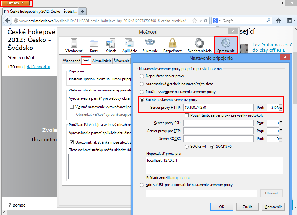 Firefox - nastavenie proxy adresy