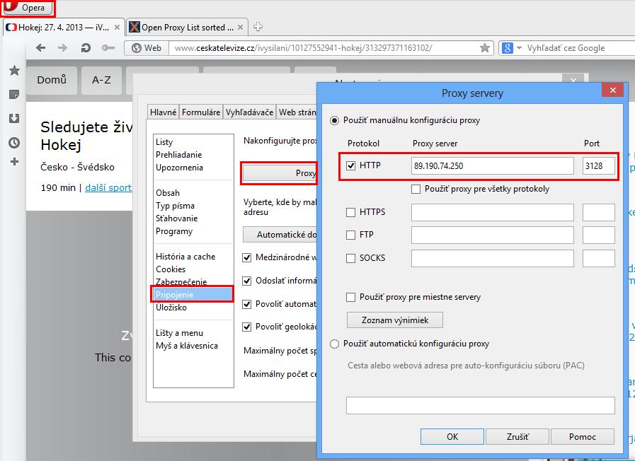 Opera - nastavenie proxy adresy