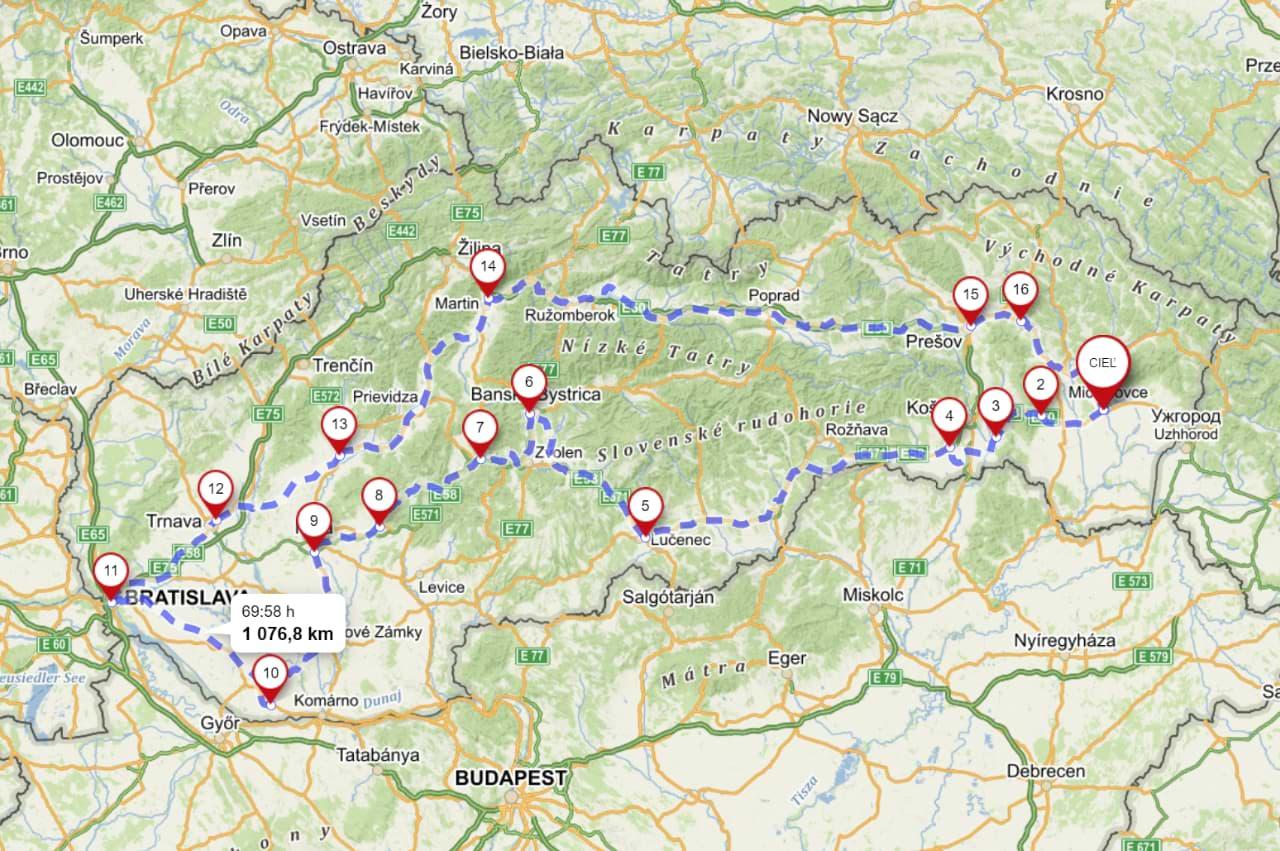 Okolo Slovenska na bicykli - Mapa