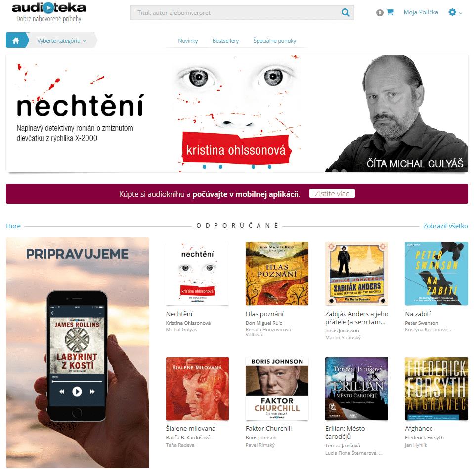 Webstránka Audioteka